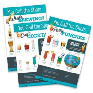 "The ""What's Brewing?"", ""Craft Cocktails"", and ""Party Punches"" posters clearly depict how much alcohol is in different drink types."