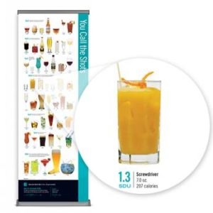 Show your audience how many standard drink units (SDUs) are in popular alcoholic beverages with this alcohol abuse prevention retractable floor banner.