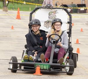 The Roadster Pedal Kart is a distracted driving simulator aiming to educate about the dangers of driving while distracted.