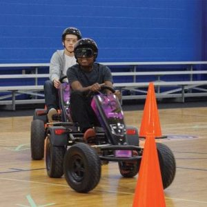 There are three types of courses you can use with drunk driving pedal karts from Innocorp.