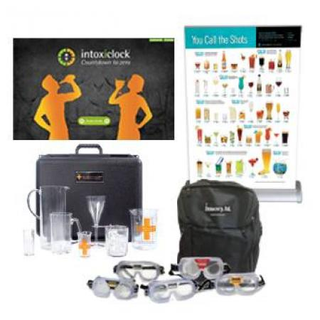 The intoxiclock® Alcohol Awareness Activities Event Kit provides participants with a complete experience on the effects of alcoholic drinks on BAC.